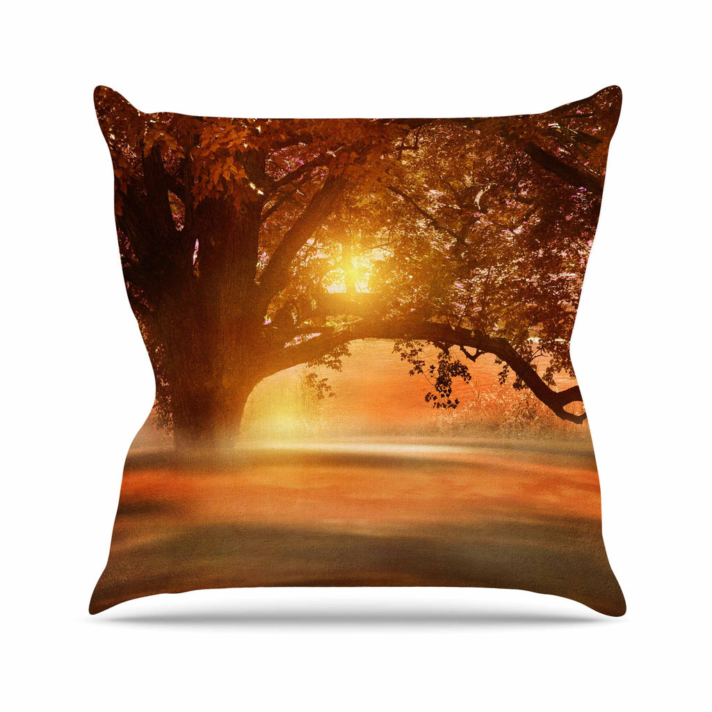 "Viviana Gonzalez ""Romance In Autumn"" Orange Gold Outdoor Throw Pillow - KESS InHouse  - 1"