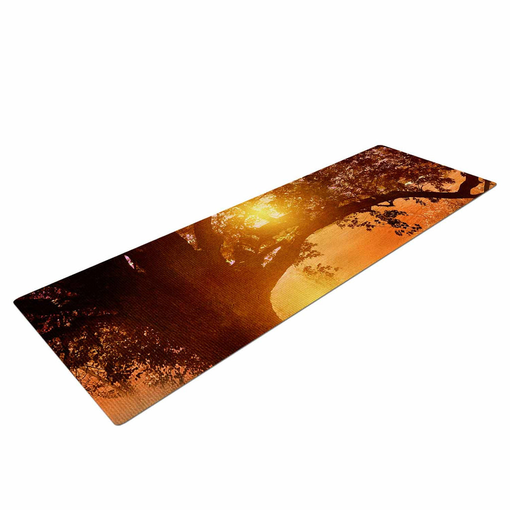 "Viviana Gonzalez ""Romance In Autumn"" Orange Gold Yoga Mat - KESS InHouse  - 1"