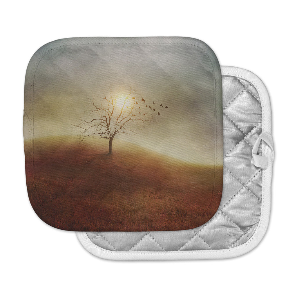 "Viviana Gonzalez ""Lone Tree Love I"" Orange Yellow Pot Holder"