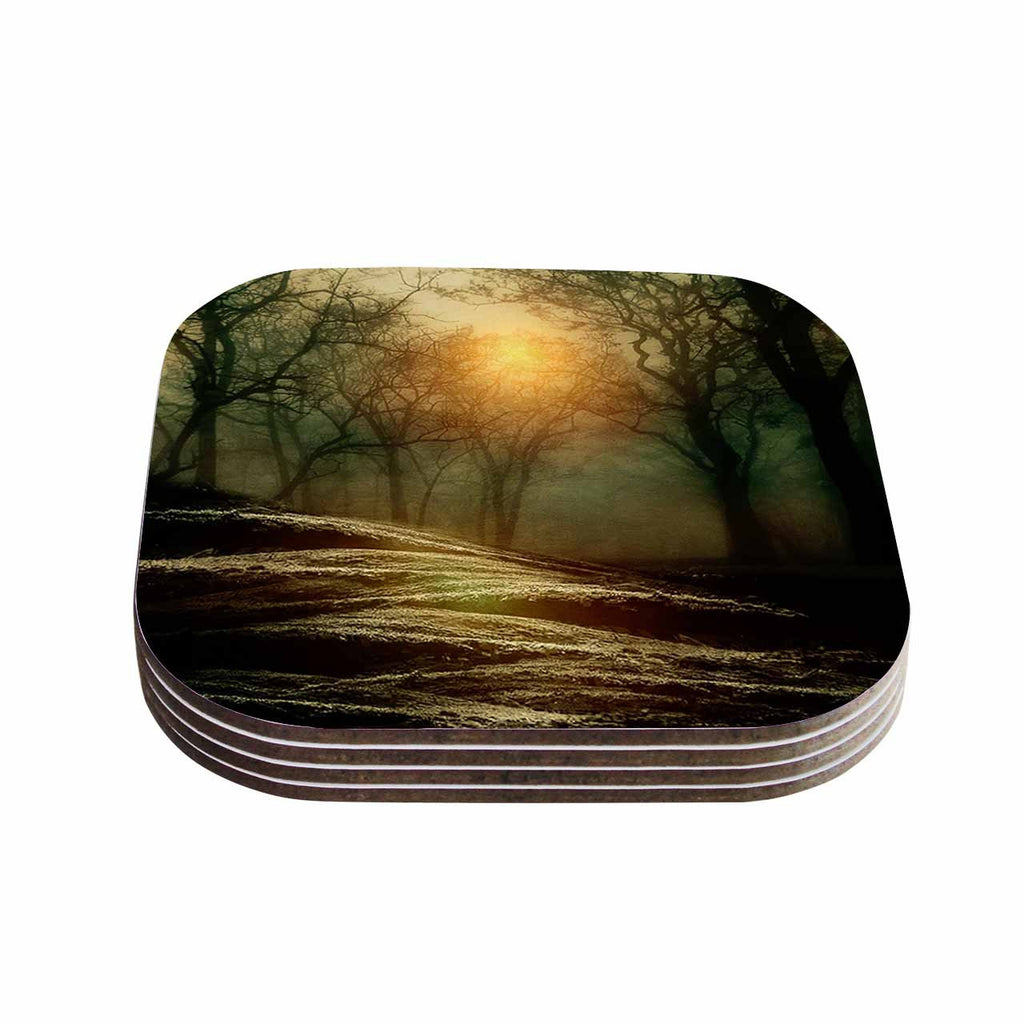 "Viviana Gonzalez ""From Small Beginnings And Big"" Green Nature Coasters (Set of 4)"