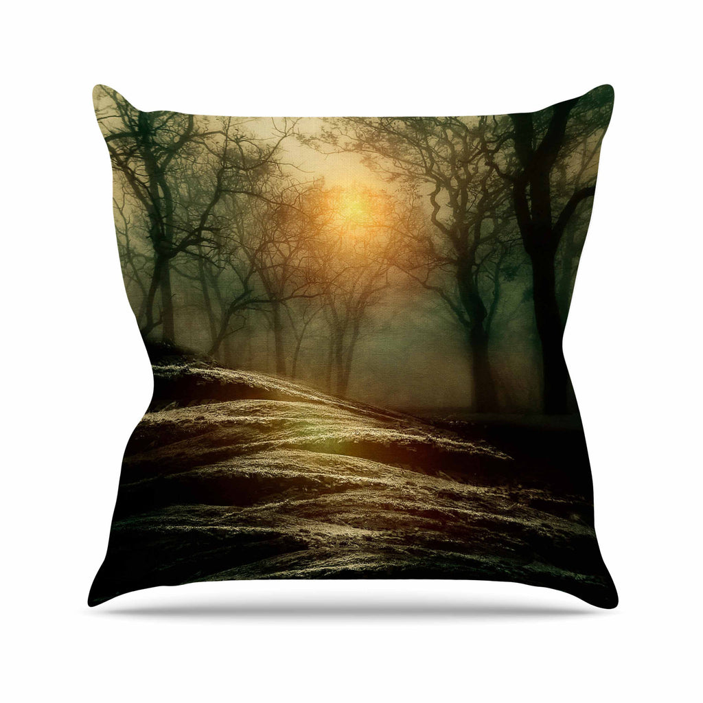 "Viviana Gonzalez ""From Small Beginnings And Big"" Green Nature Outdoor Throw Pillow - KESS InHouse  - 1"