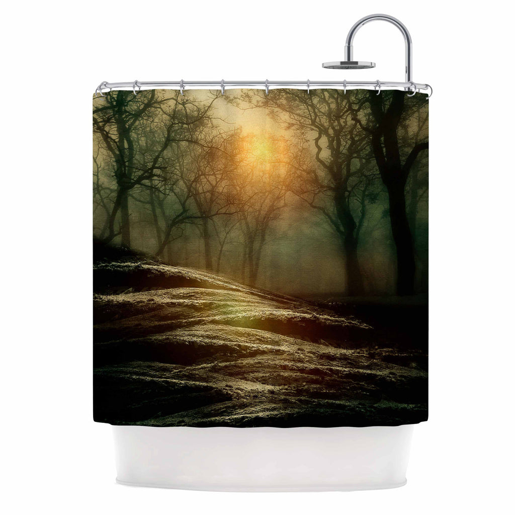 "Viviana Gonzalez ""From Small Beginnings And Big"" Green Nature Shower Curtain - KESS InHouse"