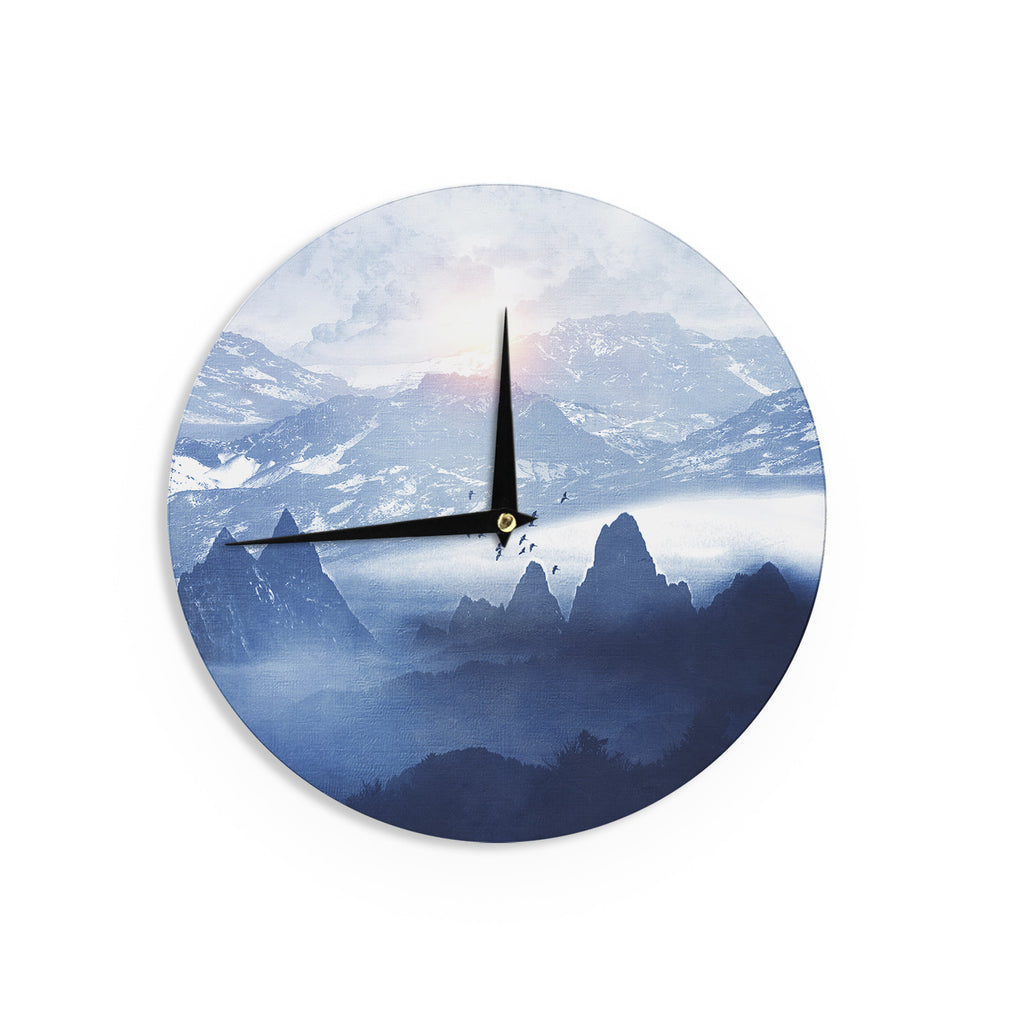"Viviana Gonzalez ""Winter, Melody..."" Blue Nature Wall Clock - KESS InHouse"