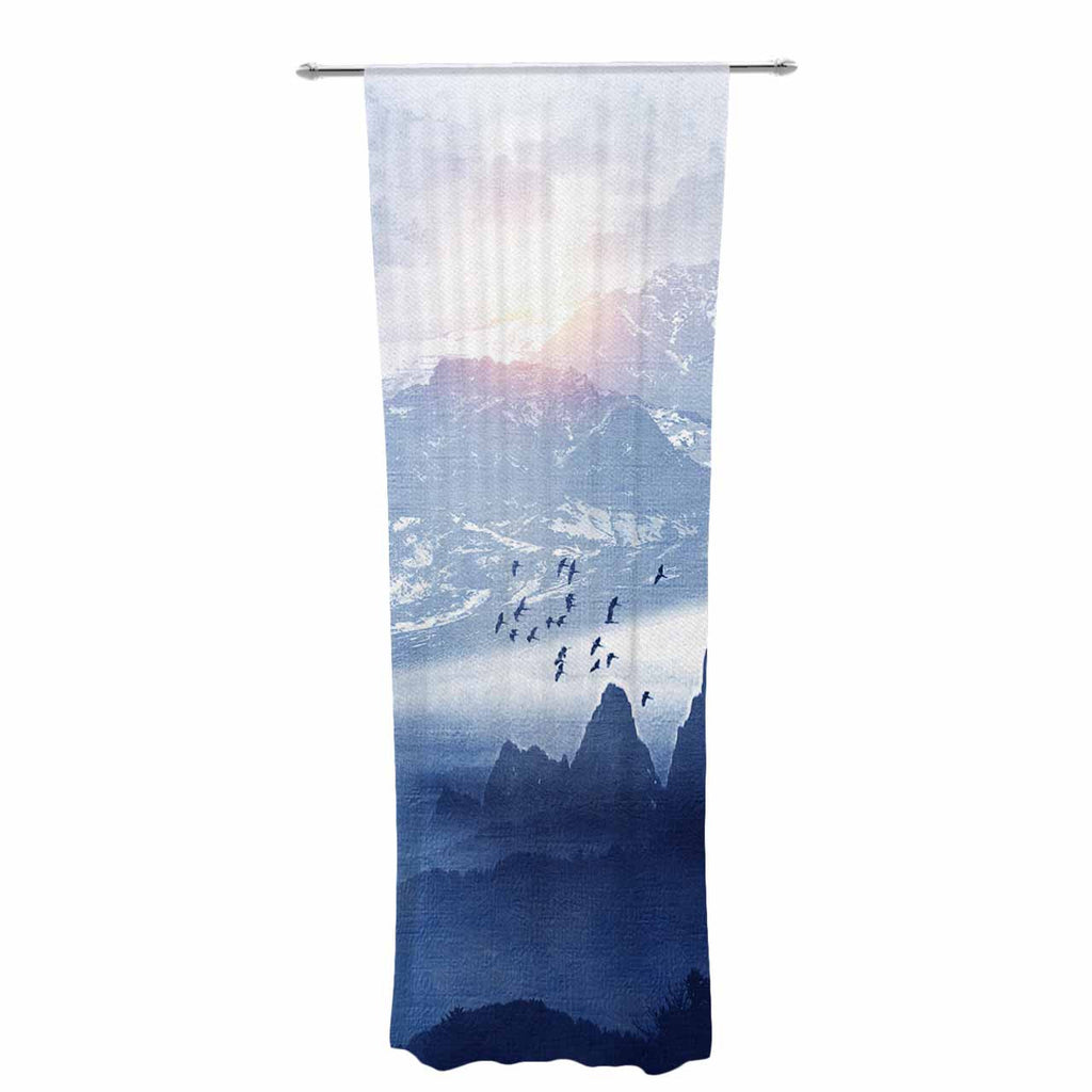 "Viviana Gonzalez ""Winter, Melody..."" Blue Nature Decorative Sheer Curtain - KESS InHouse  - 1"