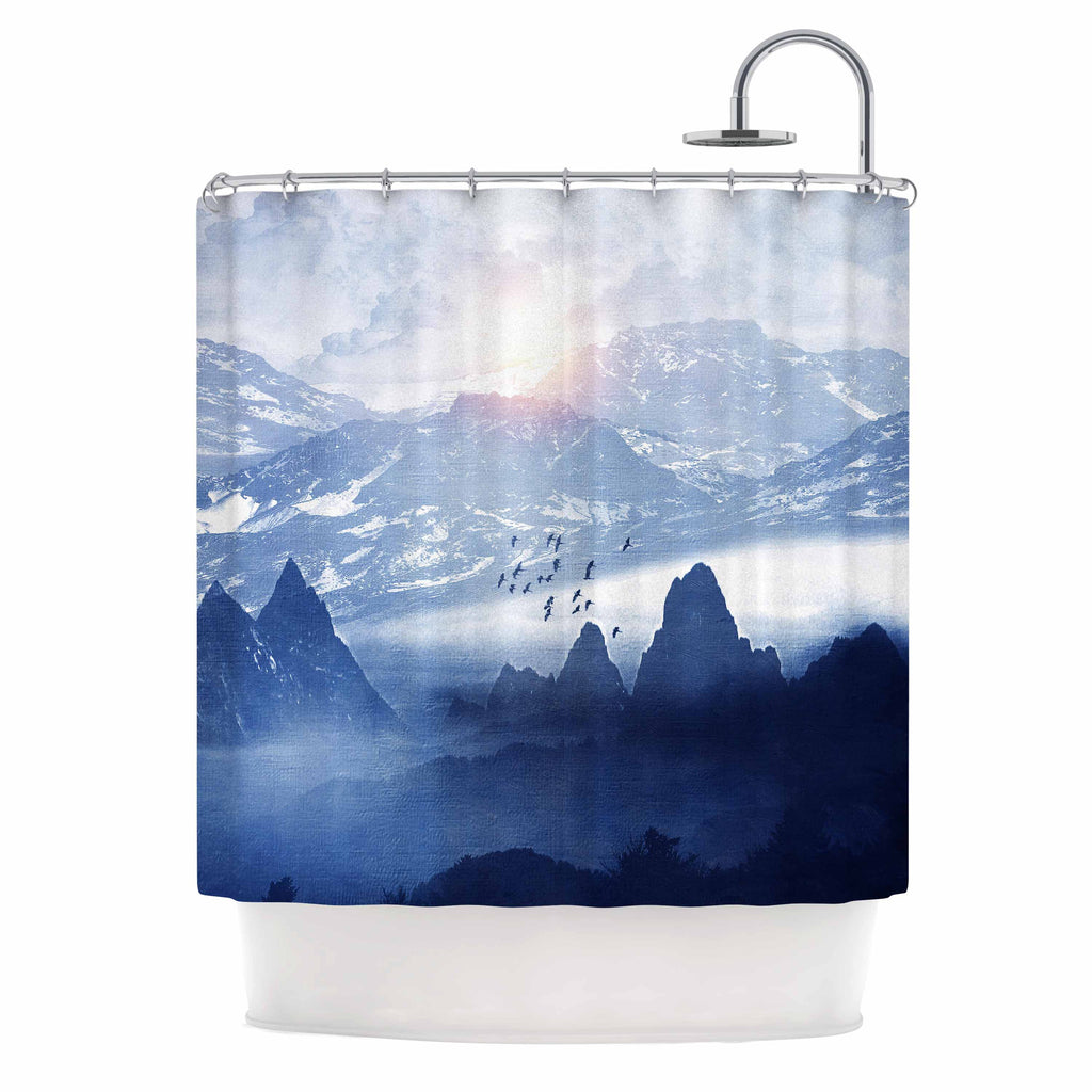 "Viviana Gonzalez ""Winter, Melody..."" Blue Nature Shower Curtain - KESS InHouse"