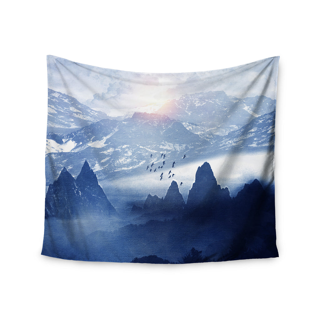"Viviana Gonzalez ""Winter, Melody..."" Blue Nature Wall Tapestry - KESS InHouse  - 1"