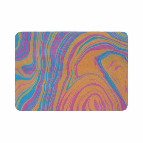 "Viviana Gonzalez ""Suminagashi 01"" Orange Blue Painting Memory Foam Bath Mat"