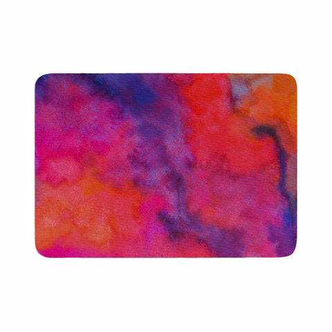 "Viviana Gonzalez ""Improvisation 30"" Magenta Lavender Watercolor Memory Foam Bath Mat"