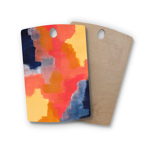 "Viviana Gonzalez ""Improvisation 70"" Magenta Yellow Abstract Modern Painting Mixed Media Rectangle Wooden Cutting Board"
