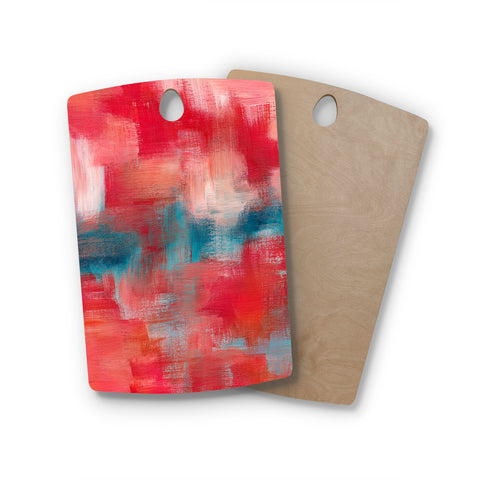 "Viviana Gonzalez ""Improvisation 69"" Magenta Blue Abstract Modern Painting Mixed Media Rectangle Wooden Cutting Board"