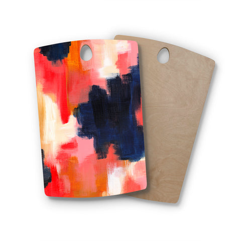 "Viviana Gonzalez ""Improvisation 67"" Blue Pink Abstract Modern Painting Mixed Media Rectangle Wooden Cutting Board"