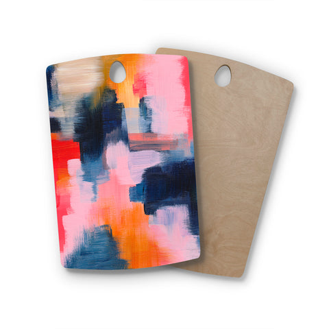 "Viviana Gonzalez ""Improvisation 66"" Pink Blue Abstract Modern Painting Mixed Media Rectangle Wooden Cutting Board"