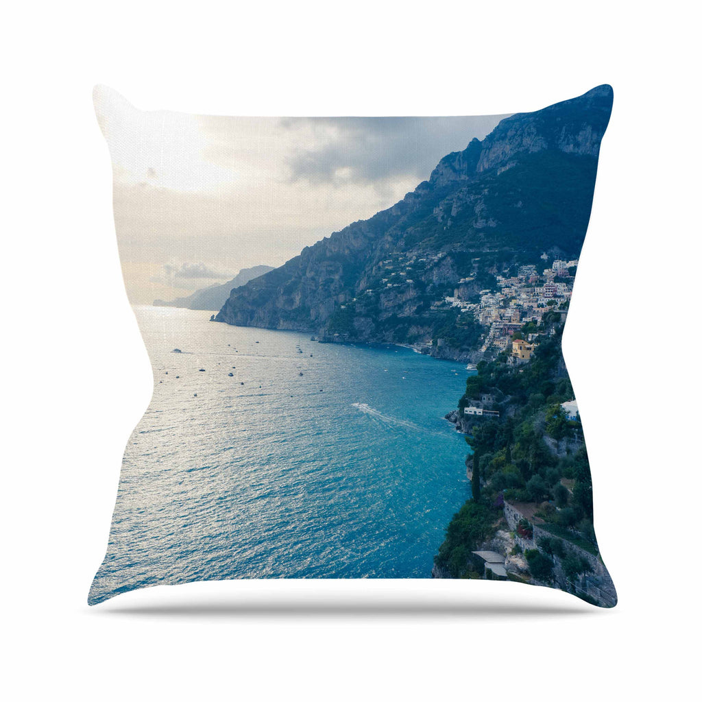 "Violet Hudson ""Amalfi Edge"" Blue Coastal Throw Pillow - KESS InHouse  - 1"