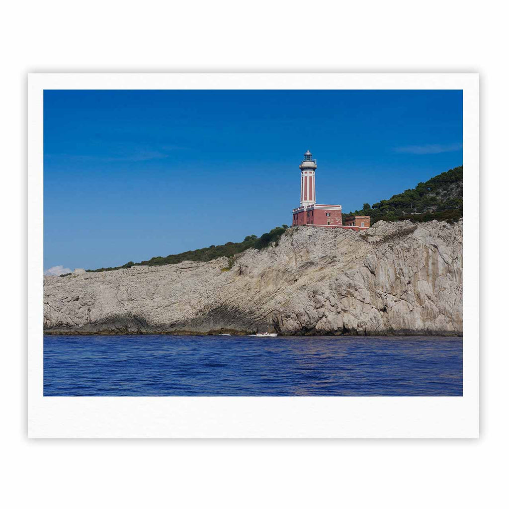 "Violet Hudson ""Happy Lighthouse"" Blue Coastal Fine Art Gallery Print - KESS InHouse"