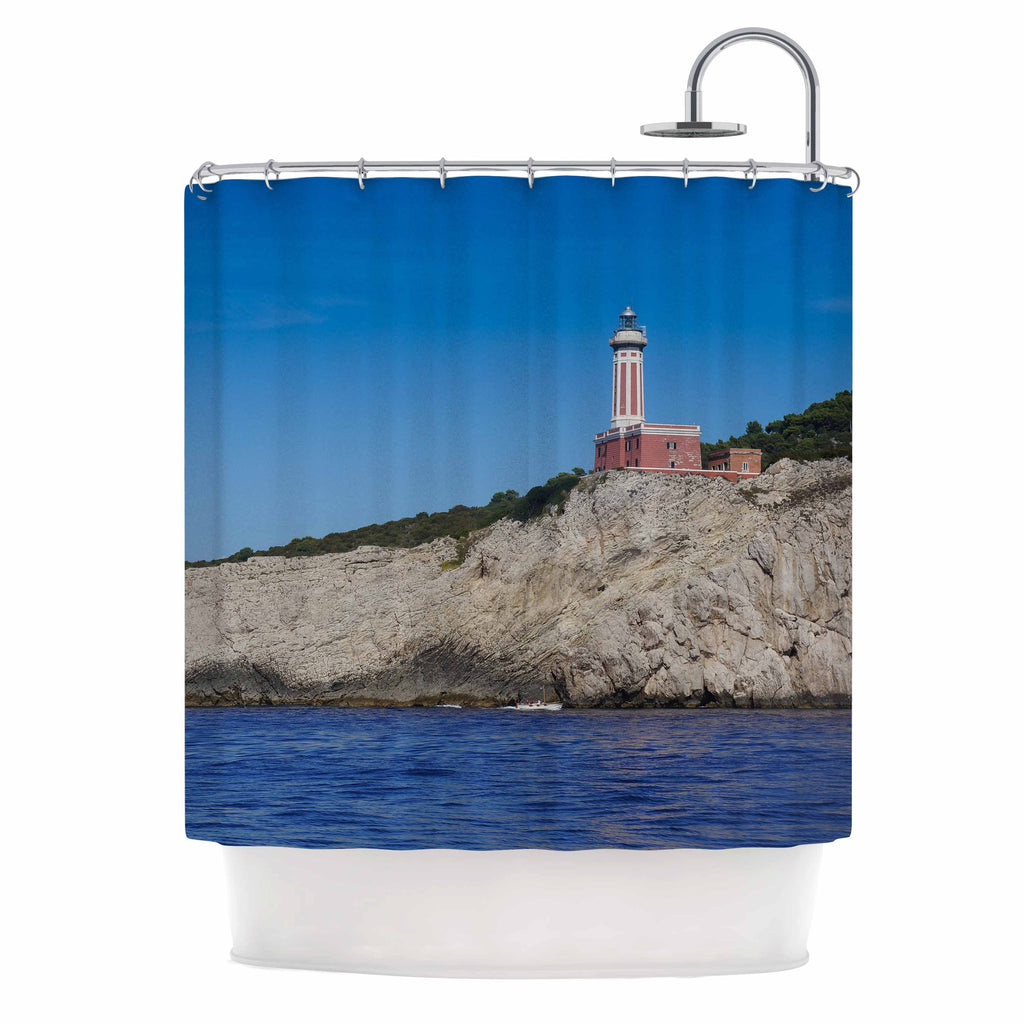 "Violet Hudson ""Happy Lighthouse"" Blue Coastal Shower Curtain - KESS InHouse"