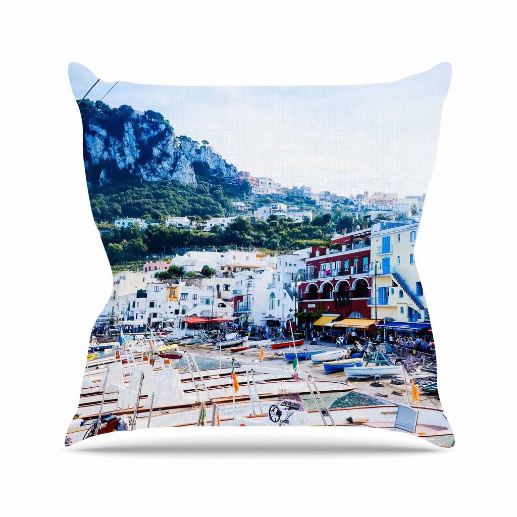 "Violet Hudson ""Capri Paradise"" White Blue Throw Pillow - KESS InHouse  - 1"