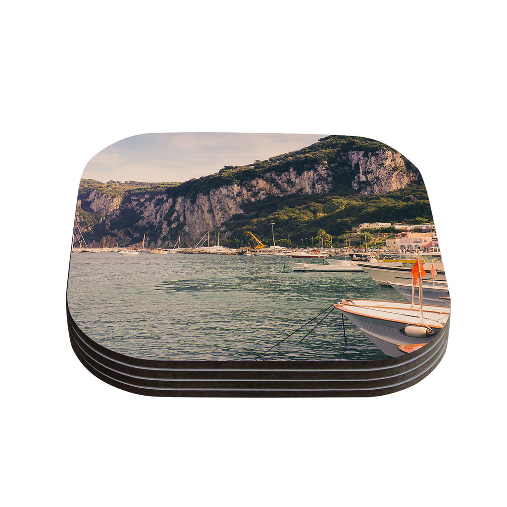 "Violet Hudson ""Boats of Paradise"" Teal Green Coasters (Set of 4)"