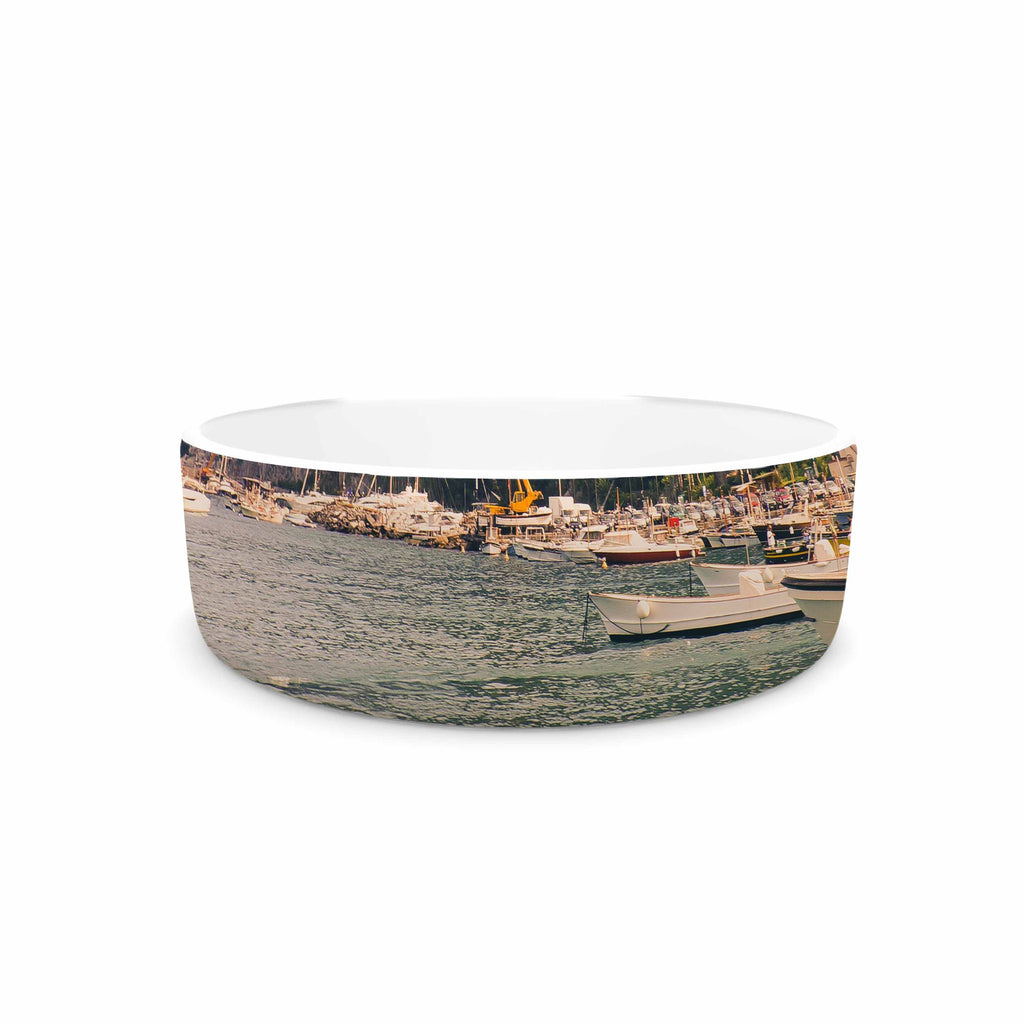 "Violet Hudson ""Boats of Paradise"" Teal Green Pet Bowl - KESS InHouse"