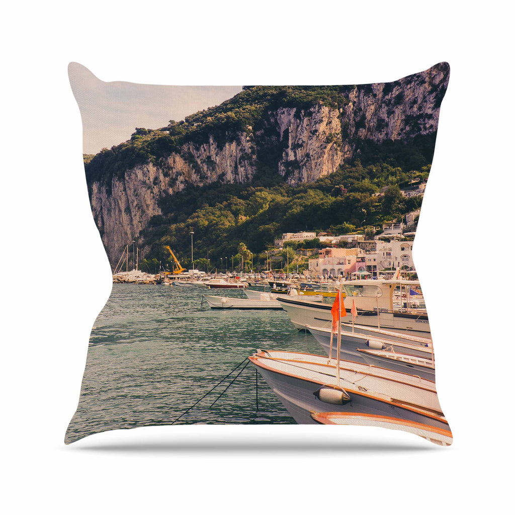 "Violet Hudson ""Boats of Paradise"" Teal Green Outdoor Throw Pillow - KESS InHouse  - 1"