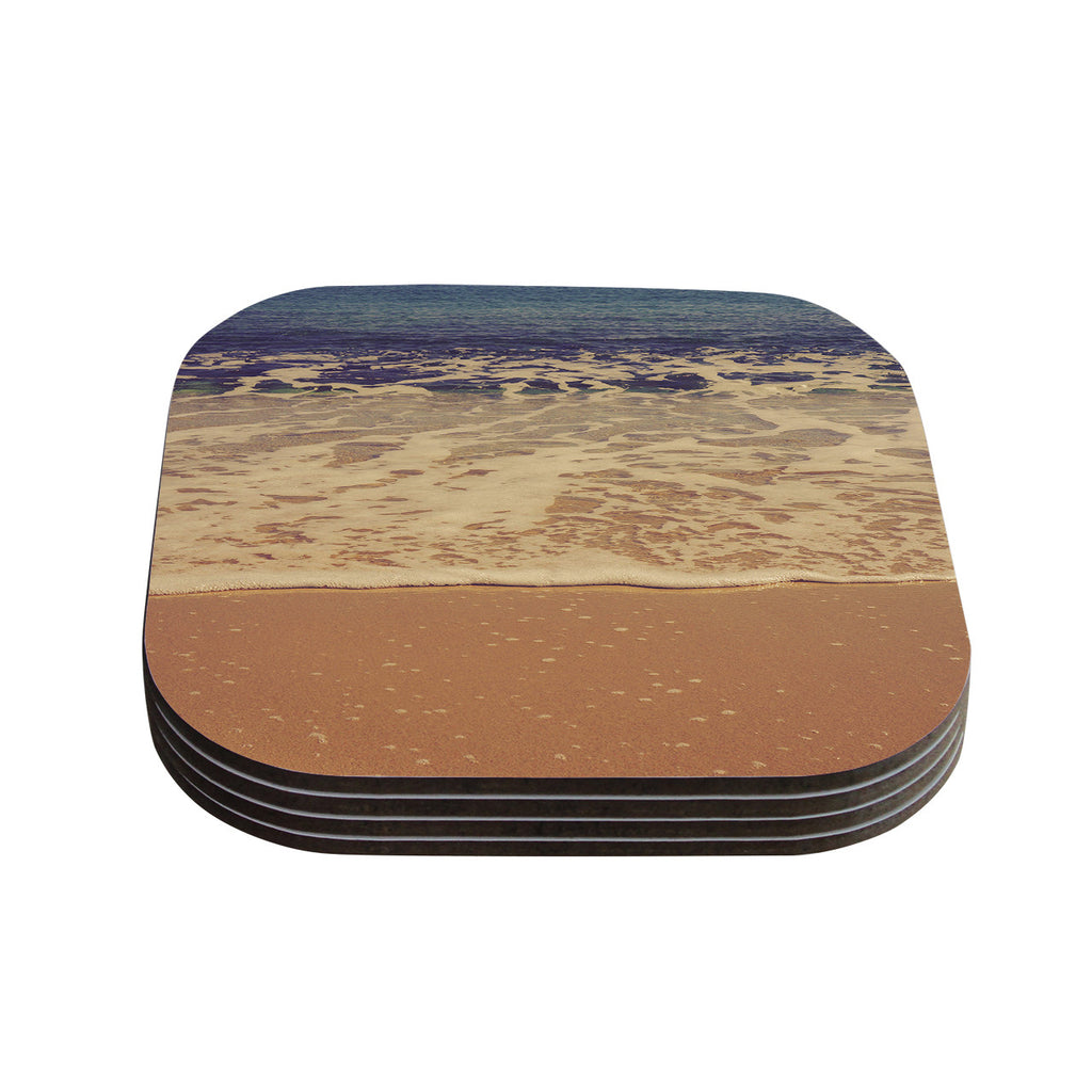 "Violet Hudson ""Ombre Beach"" Brown Blue Coasters (Set of 4)"