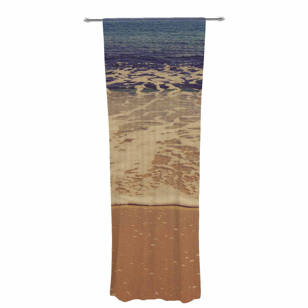 "Violet Hudson ""Ombre Beach"" Brown Blue Decorative Sheer Curtain - KESS InHouse  - 1"