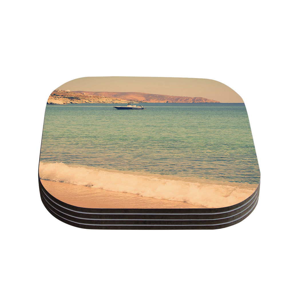 "Violet Hudson ""Drifting By"" Teal Brown Coasters (Set of 4)"