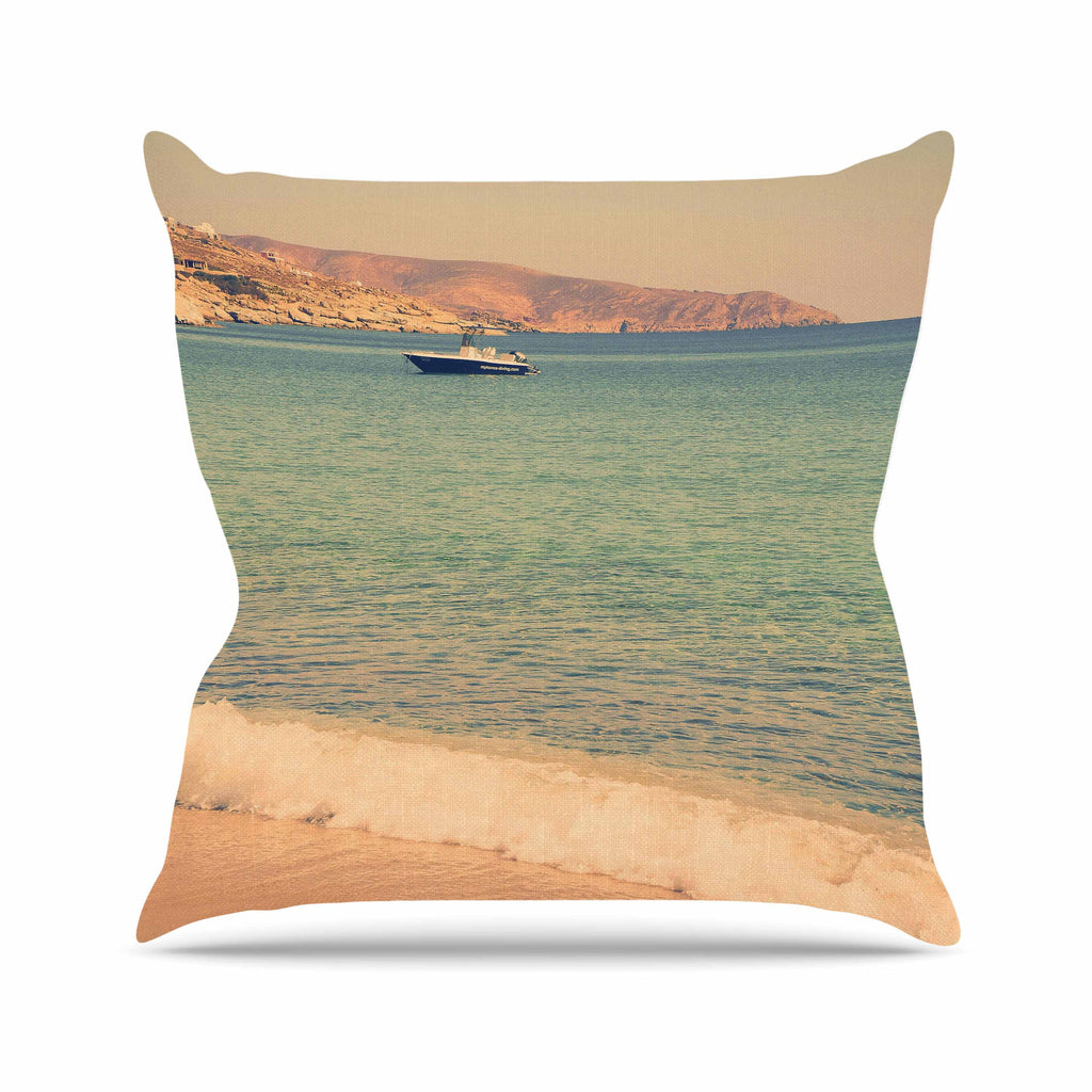 "Violet Hudson ""Drifting By"" Teal Brown Outdoor Throw Pillow - KESS InHouse  - 1"