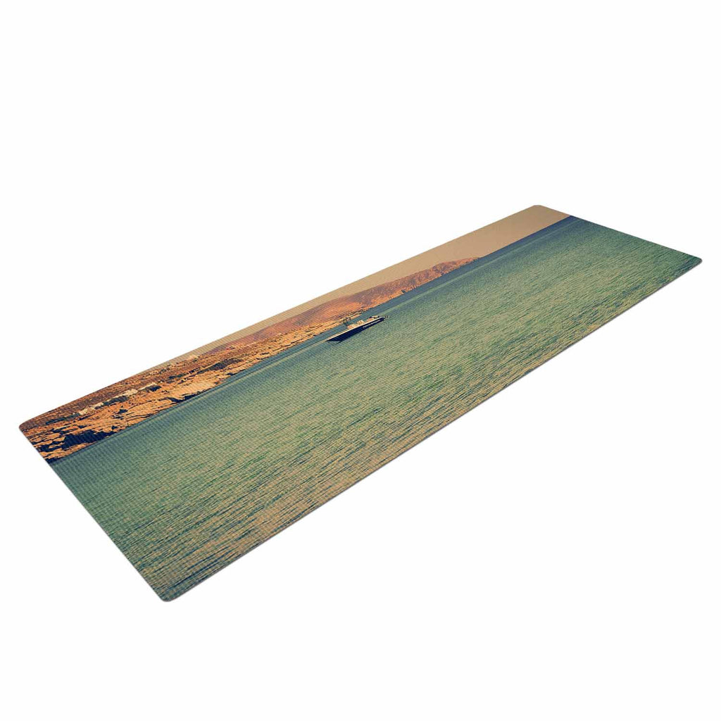 "Violet Hudson ""Drifting By"" Teal Brown Yoga Mat - KESS InHouse  - 1"
