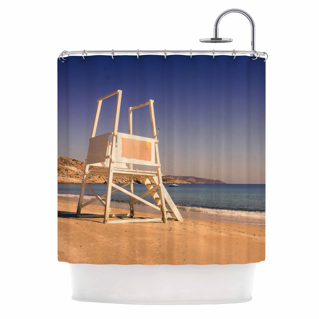 "Violet Hudson ""Life Tower"" Blue Brown Shower Curtain - KESS InHouse"