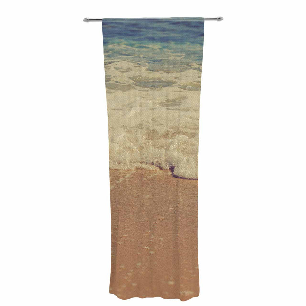 "Violet Hudson ""Sandy"" Brown Coastal Decorative Sheer Curtain - KESS InHouse  - 1"
