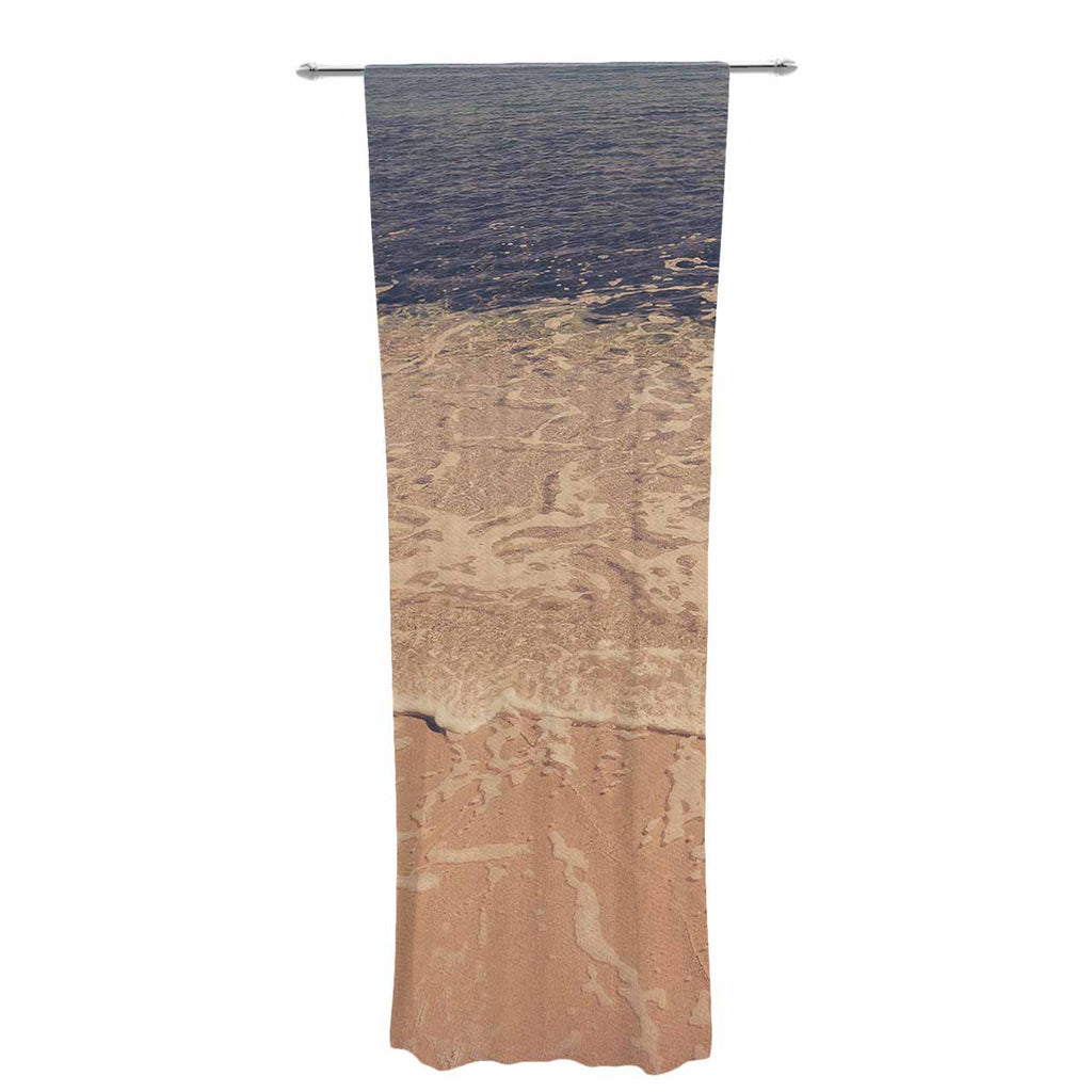 "Violet Hudson ""Crystal Water"" Brown Tan Decorative Sheer Curtain - KESS InHouse  - 1"