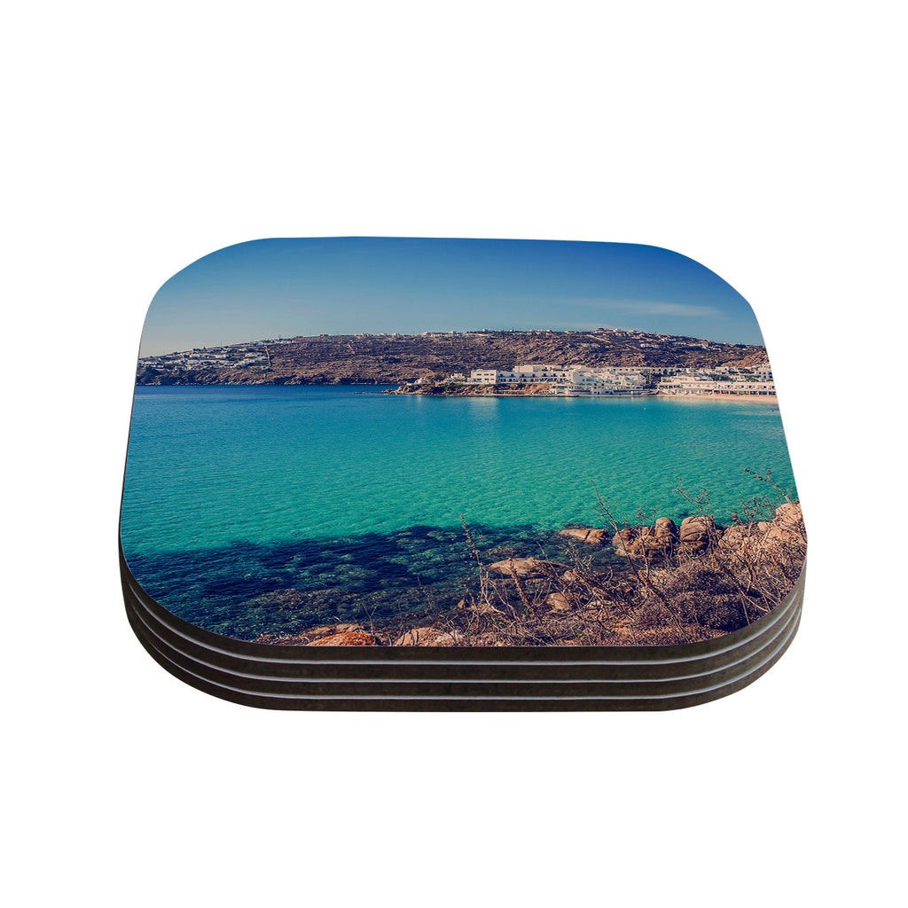 "Violet Hudson ""Mykonos Bay"" Blue Brown Coasters (Set of 4)"