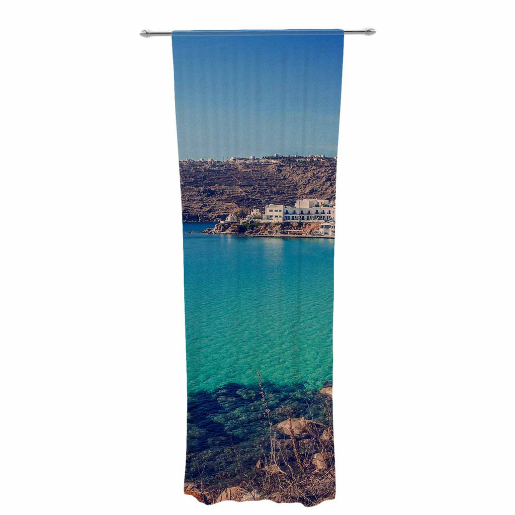 "Violet Hudson ""Mykonos Bay"" Blue Brown Decorative Sheer Curtain - KESS InHouse  - 1"