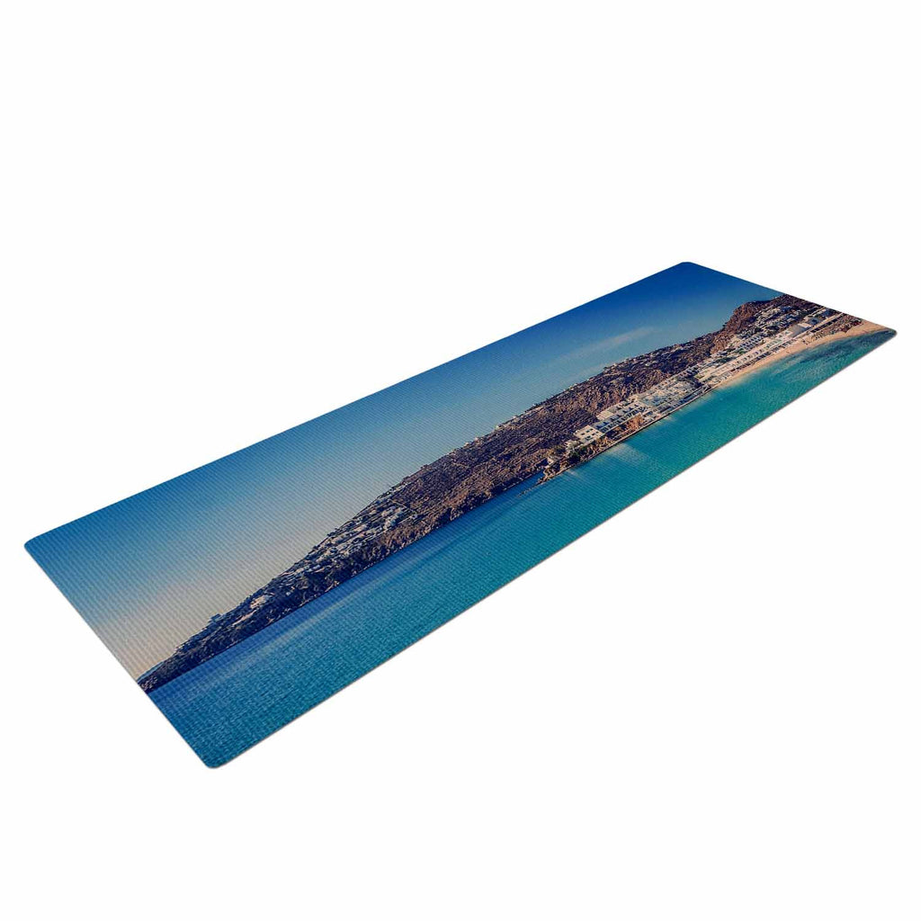 "Violet Hudson ""Mykonos Bay"" Blue Brown Yoga Mat - KESS InHouse  - 1"