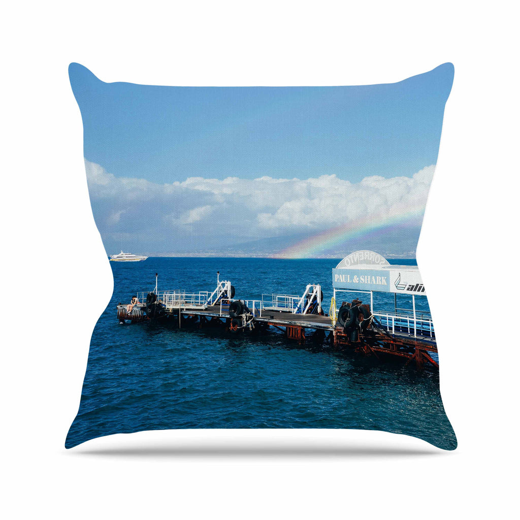 "Violet Hudson ""Rainbow Pier"" Blue White Throw Pillow - KESS InHouse  - 1"