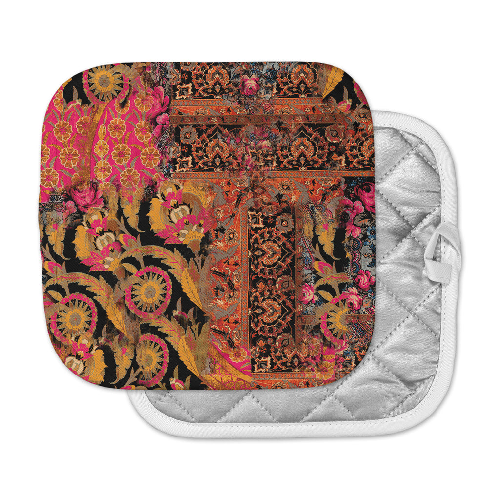 "Victoria Krupp ""Global Patchwork"" Coral Digital Pot Holder"