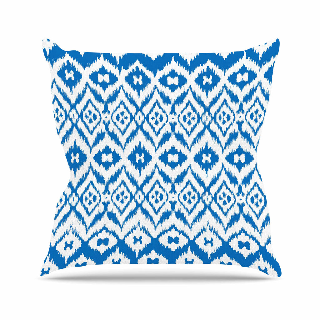 "Victoria Krupp ""Vk_Ikat"" Blue Tribal Throw Pillow - KESS InHouse  - 1"