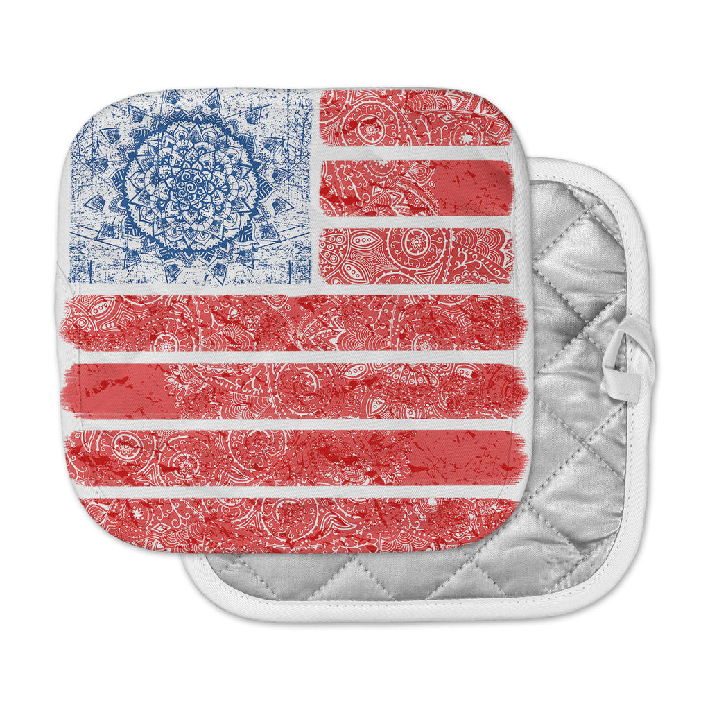 "Victoria Krupp ""Americana Mandala Flag"" Red Holiday Pot Holder"