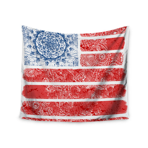 "Victoria Krupp ""Americana Mandala Flag"" Red Holiday Wall Tapestry - KESS InHouse  - 1"
