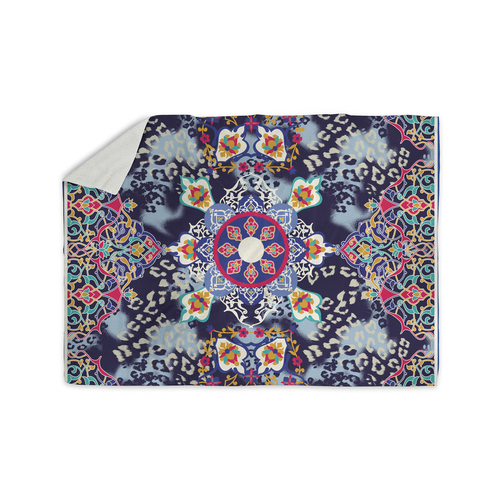 "Victoria Krupp ""Eastern Medallion"" Blue Multicolor Vector Sherpa Blanket - KESS InHouse"