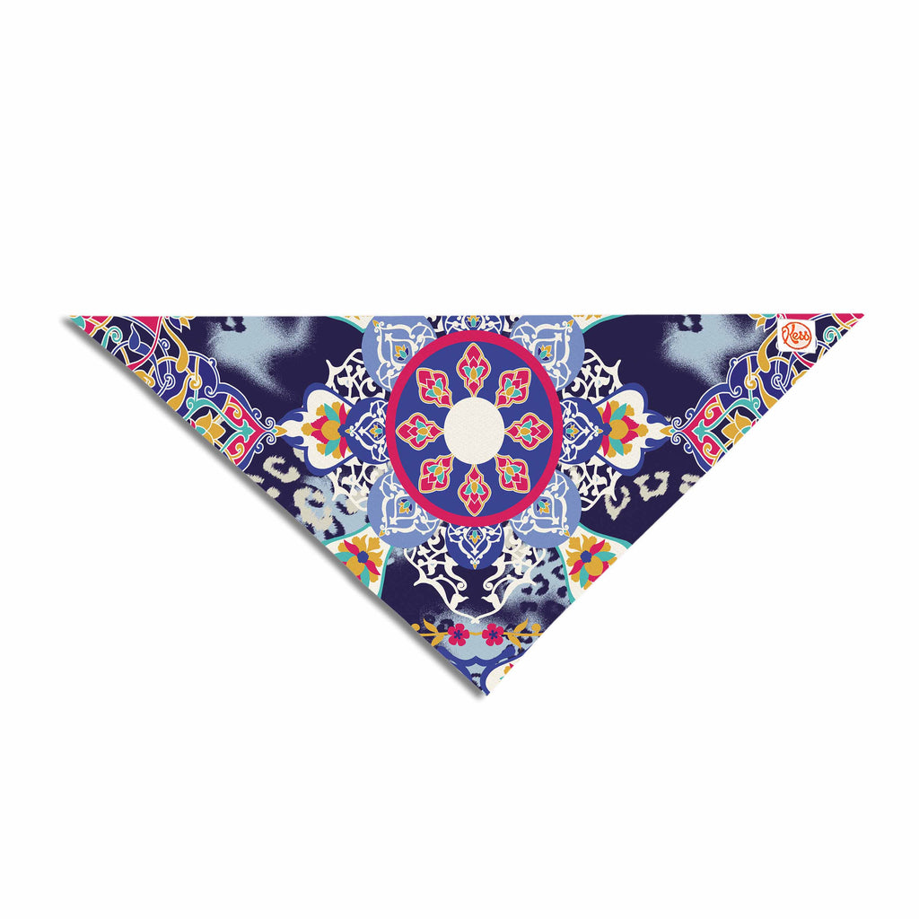 "Victoria Krupp ""Eastern Medallion"" Blue Multicolor Vector Pet Bandana"