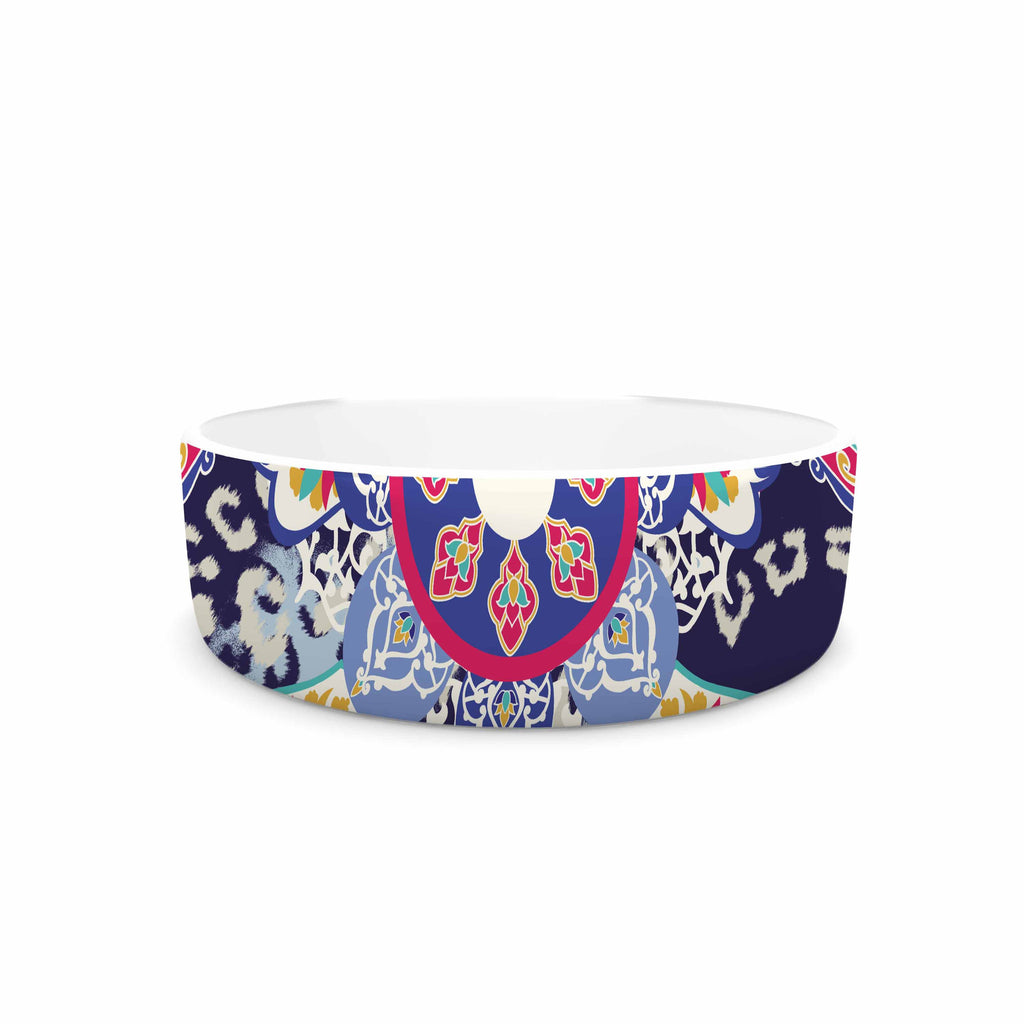 "Victoria Krupp ""Eastern Medallion"" Blue Multicolor Vector Pet Bowl"