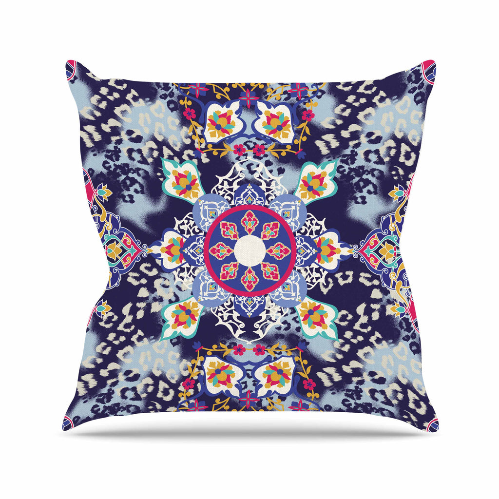 "Victoria Krupp ""Eastern Medallion"" Blue Multicolor Vector Outdoor Throw Pillow"