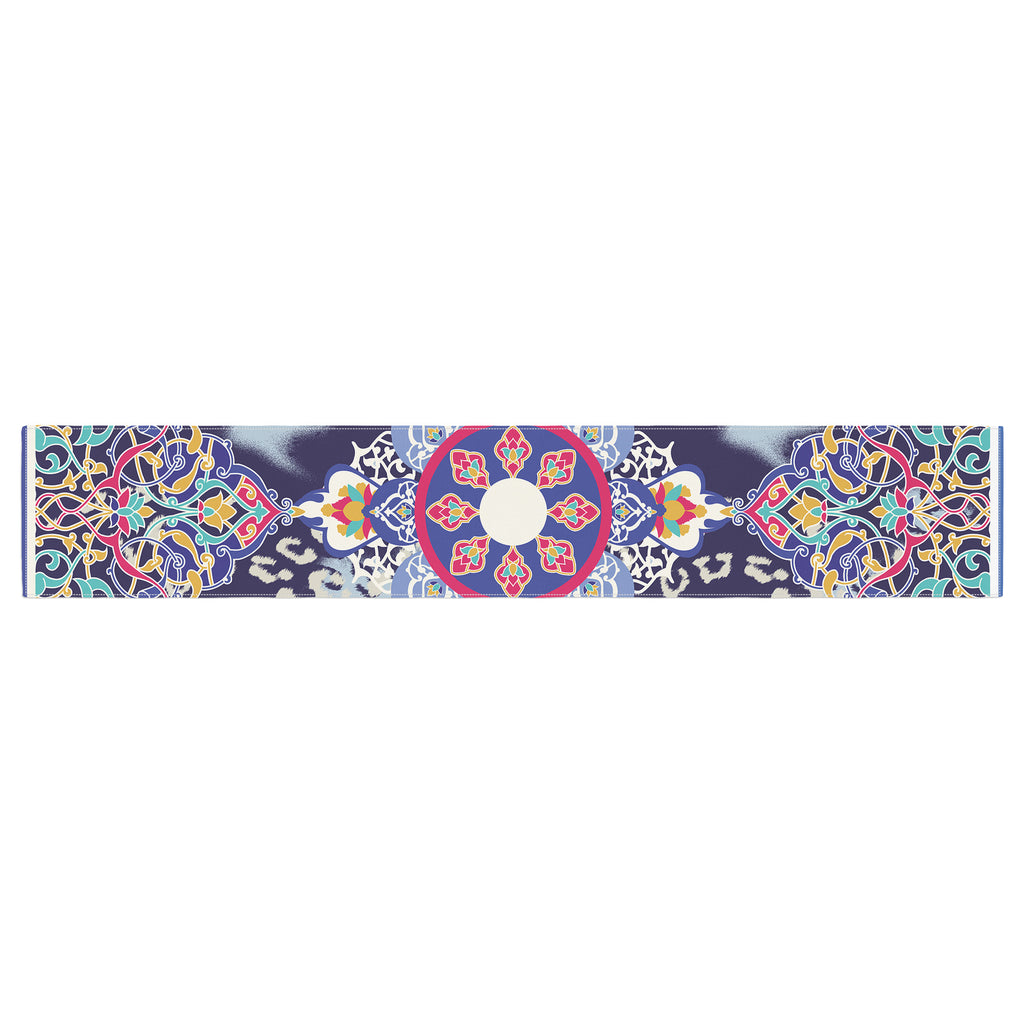"Victoria Krupp ""Eastern Medallion"" Blue Multicolor Vector Table Runner"