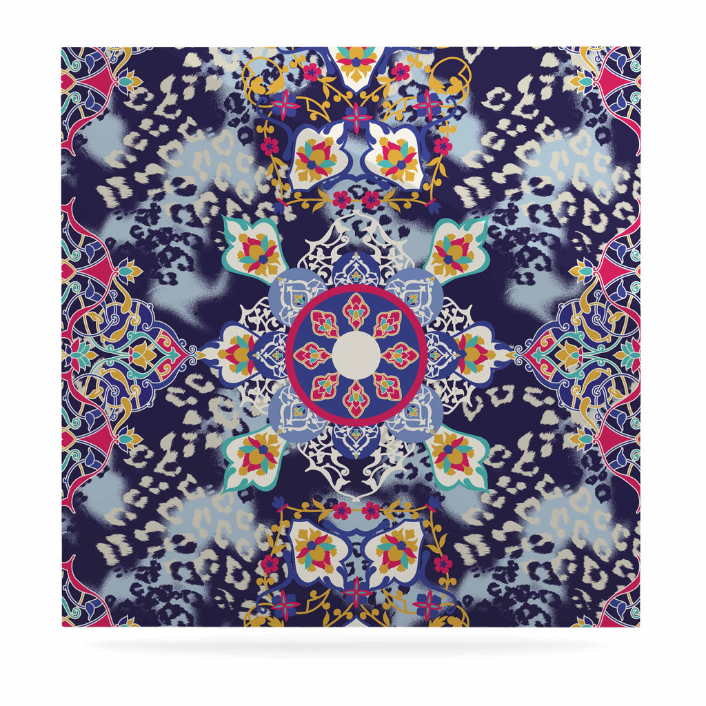 "Victoria Krupp ""Eastern Medallion"" Blue Multicolor Vector Luxe Square Panel"