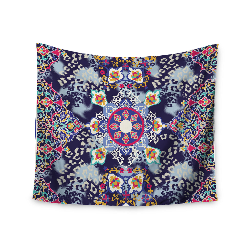 "Victoria Krupp ""Eastern Medallion"" Blue Multicolor Vector Wall Tapestry - KESS InHouse  - 1"