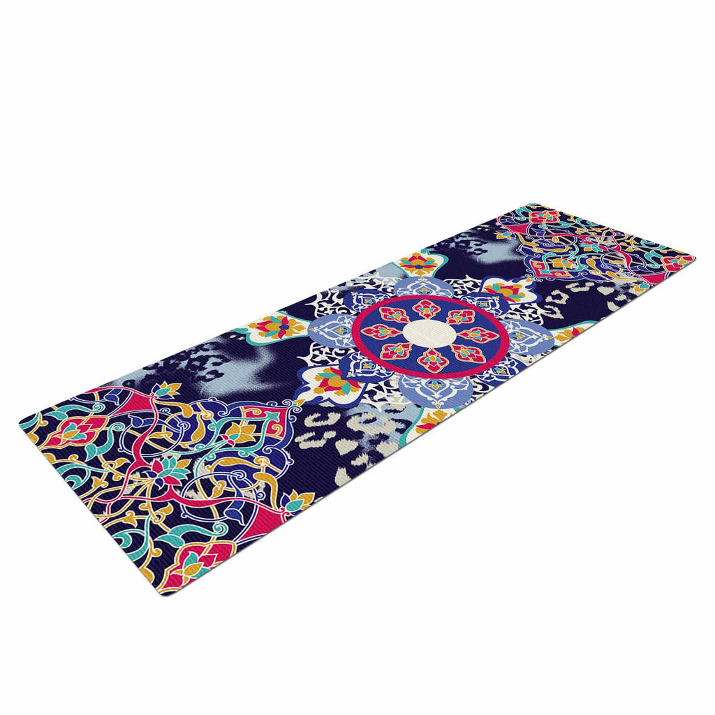 "Victoria Krupp ""Eastern Medallion"" Blue Multicolor Vector Yoga Mat"