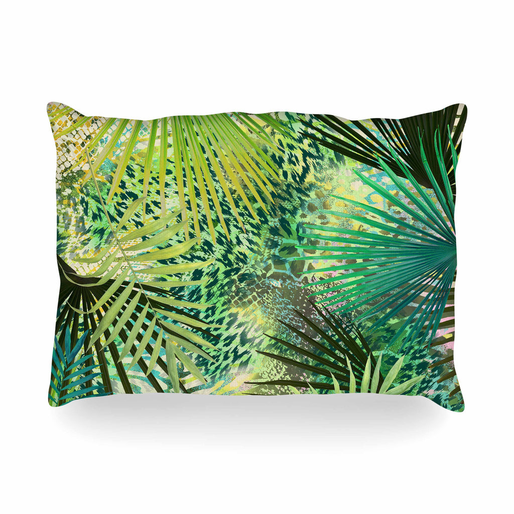 "Victoria Krupp ""Animal Jungles"" Green Teal Digital Oblong Pillow"