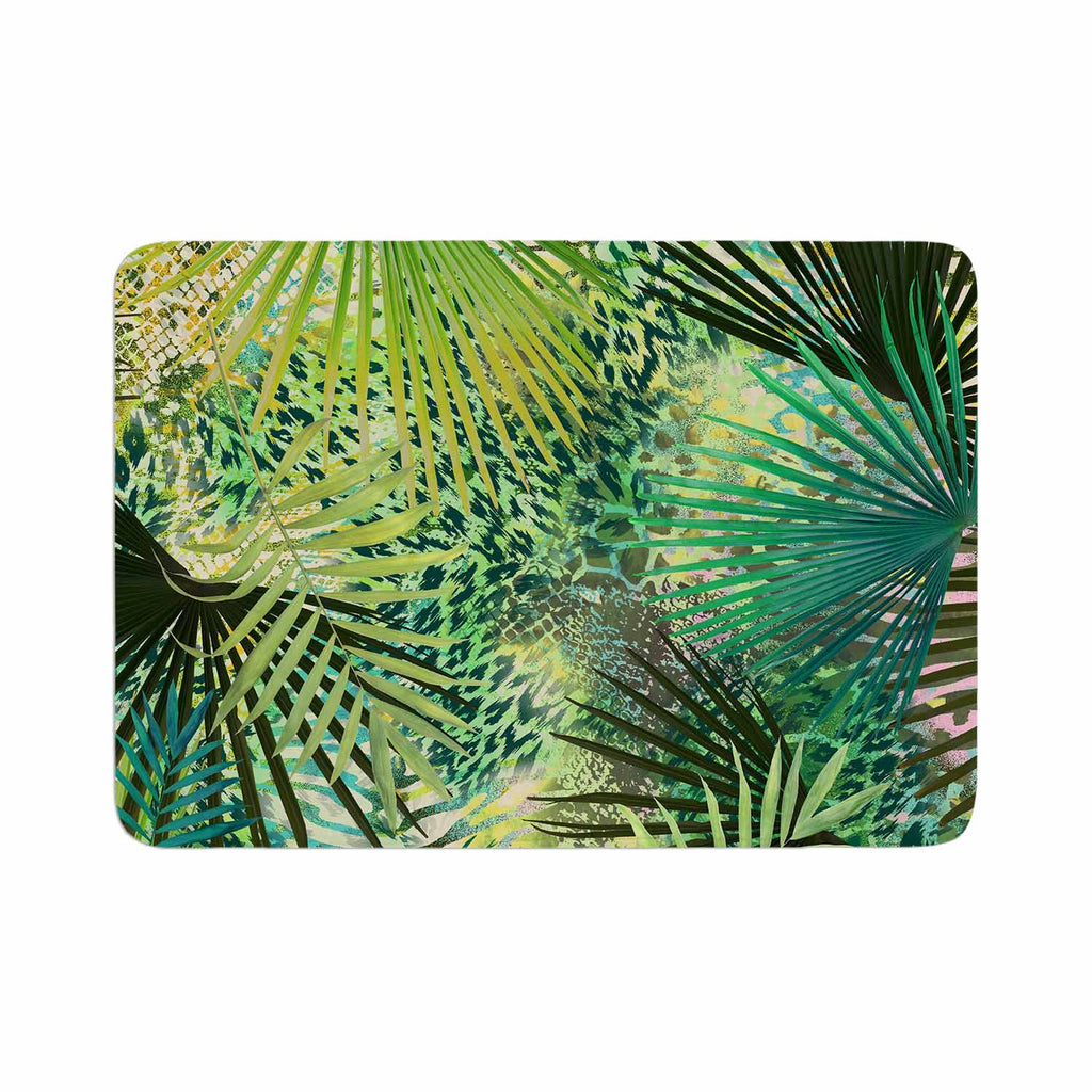 "Victoria Krupp ""Animal Jungles"" Green Teal Digital Memory Foam Bath Mat"