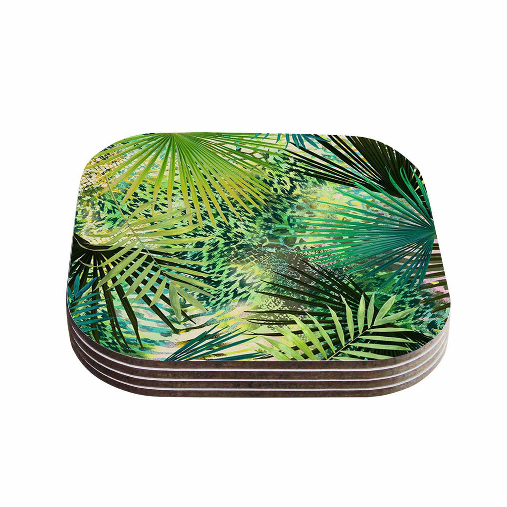 "Victoria Krupp ""Animal Jungles"" Green Teal Digital Coasters (Set of 4)"